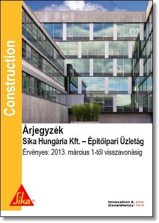 2013. Építőipari Üzletág Árjegyzéke