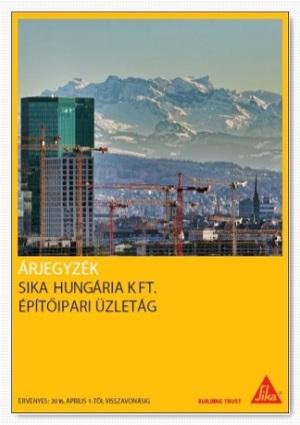 2016. Építőipari Üzletág Árjegyzéke